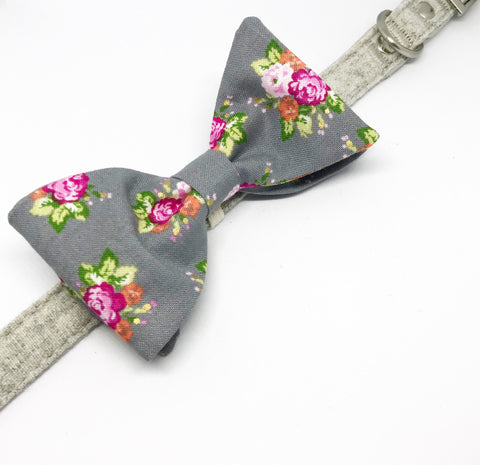 Monsieur Pet Bow Tie in Spring Bouquet (Grey)