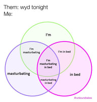Them: WYD tonight? Me: I'm masturbating in bed