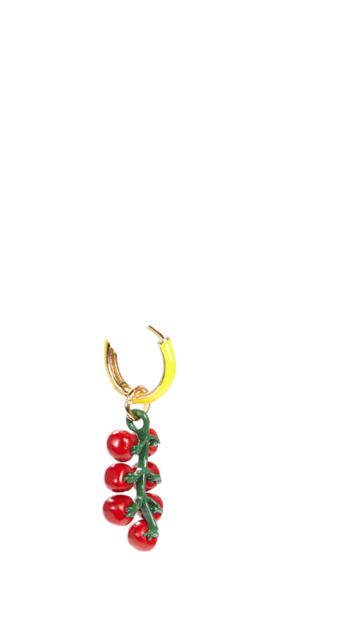 Tomato Earring – Single Hoop 'n' Charm