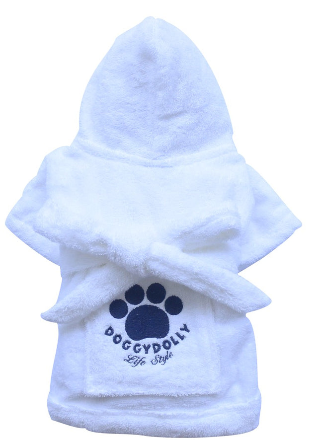 White Bathrobe for Small Dog