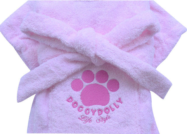 Pink Bathrobe for French Bulldog & Pug