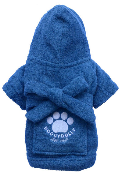 Blue Bathrobe for Small Dog