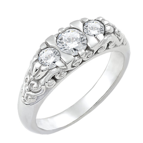 Diamond Antique Ring with .45 CT Mine Cut Center Diamond and .33 CT T.W. Mine Cut Side Diamonds