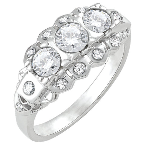 Diamond Antique Ring with .25 CT Center Diamond and .50 CT TW of Melee
