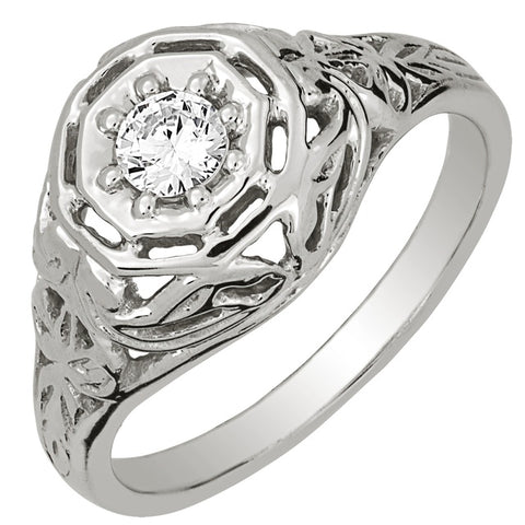 Diamond Antique Ring with .20 CT Center Diamond
