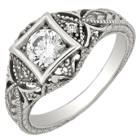 Diamond Antique Ring with .50 CT Center Diamond and .10 CT TW of Melee