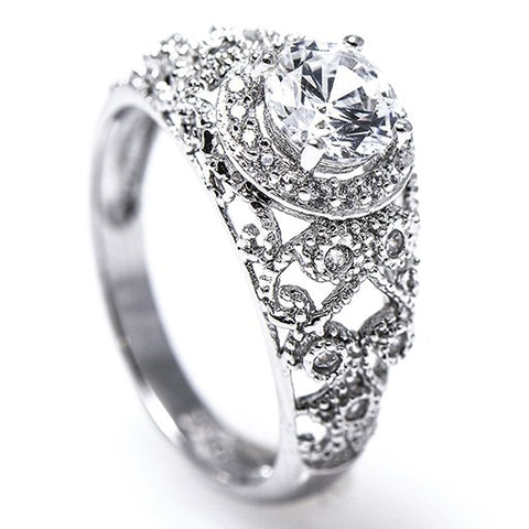 Diamond Antique Ring with .75 CT Mine Cut Center Diamond and .30 CT T.W. Mine Cut Side Diamonds