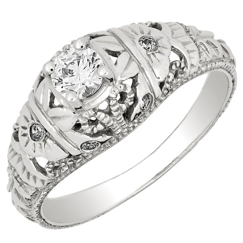 Diamond Antique Ring with .25 CT Mine Cut Center Diamond and .06 CT T.W. Mine Cut Side Diamonds