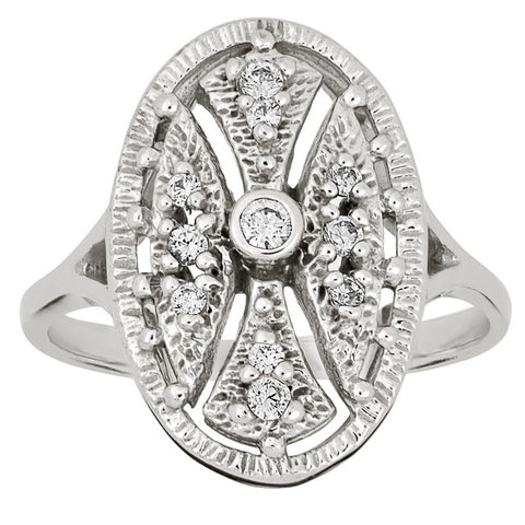 Diamond Antique Ring with .07 CT Mine Cut Center Diamond and .02 CT T.W. Mine Cut Side Diamonds