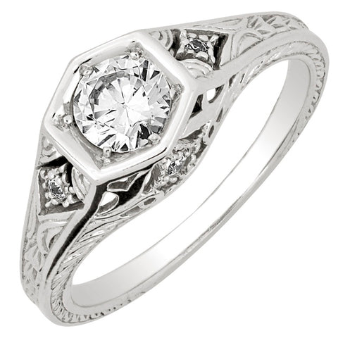 Diamond Antique Ring with .50 CT Mine Cut Center Diamond and .06 CT T.W. Single Cut Side Diamonds