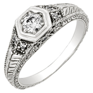 Diamond Antique Ring with .25 CT Mine Cut Center Diamond and .06 CT T.W. Single Cut Side Diamonds