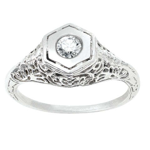 Diamond Antique Ring with .17 CT Center Diamond