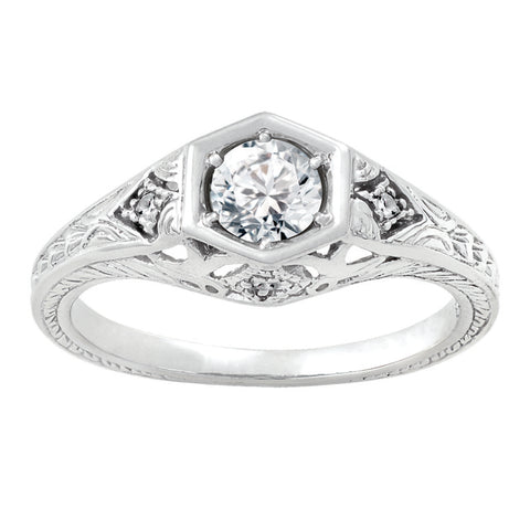 Diamond Antique Ring with .50 CT Center Diamond and .04 CT TW of Melee