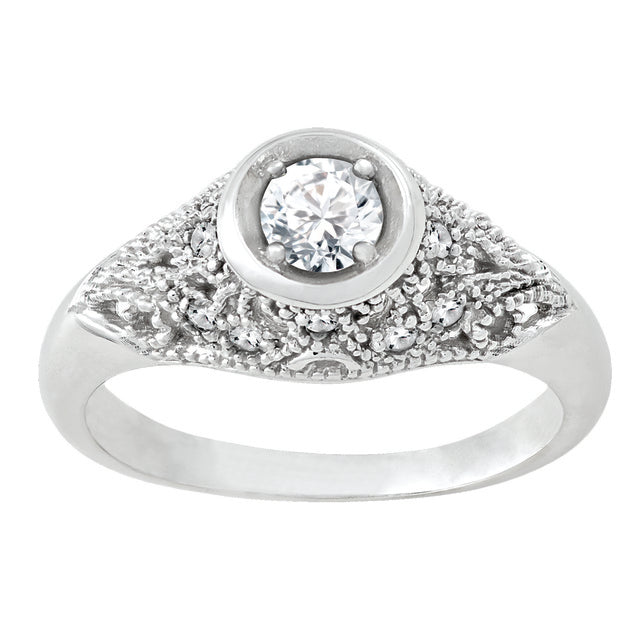 Diamond Antique Ring with .25 CT Center Diamond and .12 CT TW of Melee