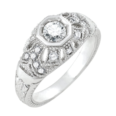 Diamond Antique Ring with .33 CT Center Diamond and .33 CT TW of Melee