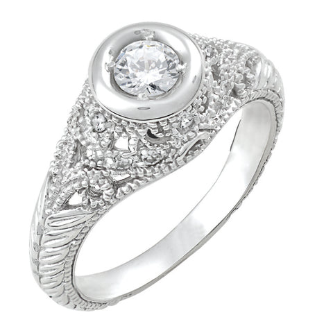 Diamond Antique Ring with .33 CT Center Diamond and .28 CT TW of Melee