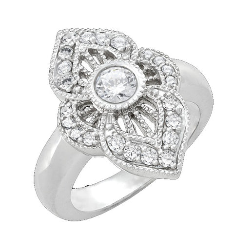 Diamond Antique Ring with .25 CT Center Diamond and .35 CT TW of Melee