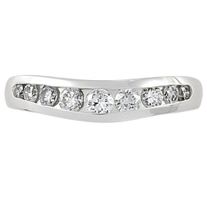 Channel Sed Curved Wedding Ring