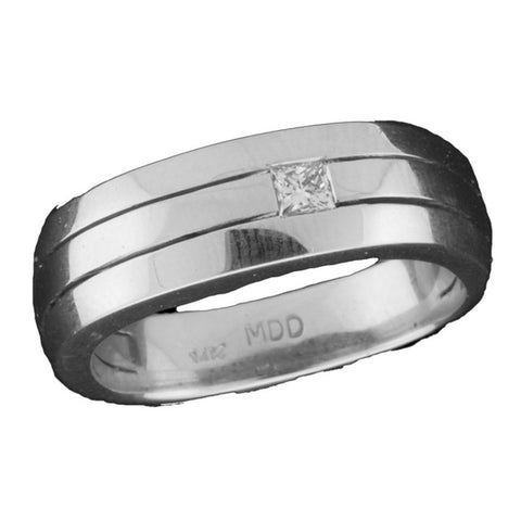 Men's Wedding Band With One Princess Cut Diamond