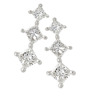Three Stone Princess Cut Shared Prong Diamond Earrings
