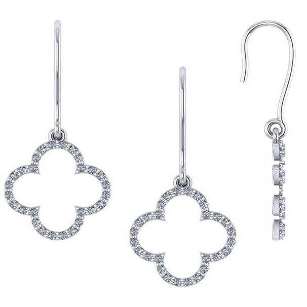 Clover Shaped Diamond Dangle Earrings