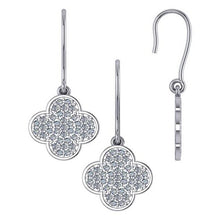 Load image into Gallery viewer, Clover Shaped Diamond Dangle Earrings