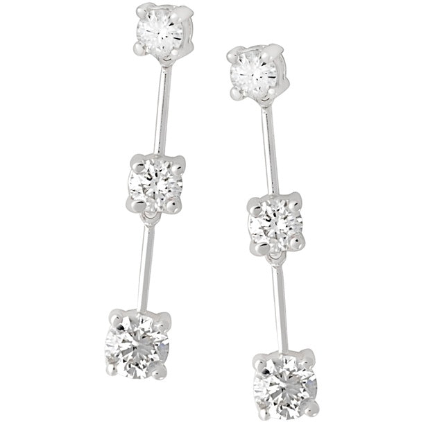 Three Stone Diamond Flexible Earrings