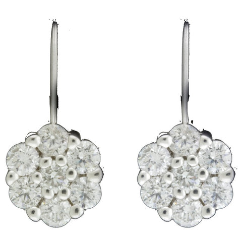 14 Diamond Leverback Cluster Earrings