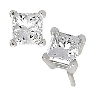 4 Prong Princess Cut Diamond Earrings