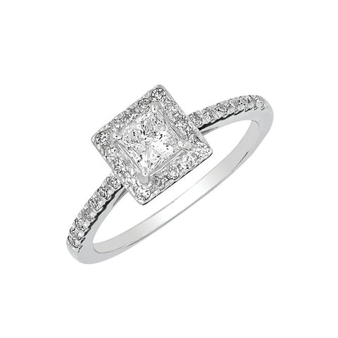 DIAMOND HALO ENGAGEMENT RING WITH PRINCESS CUT CENTER