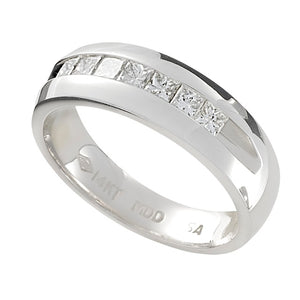 Seven Princess Cut Diamond Men's Band