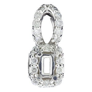 Fancy Emerald Cut Diamond Semi Mount Pendant