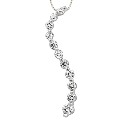 11 Diamond Curved Journey Diamond Pendant