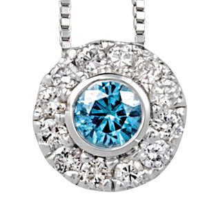 Diamond Halo Pendants with Blue Treated Diamond Center