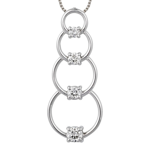 4 Diamond Hoop Journey Pendant