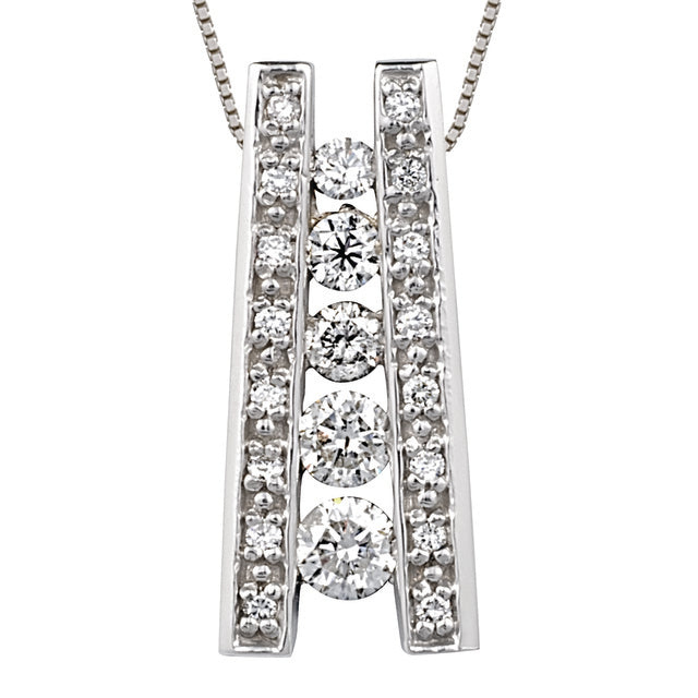 5 Diamond Ladder Journey Pendant With Small Diamonds
