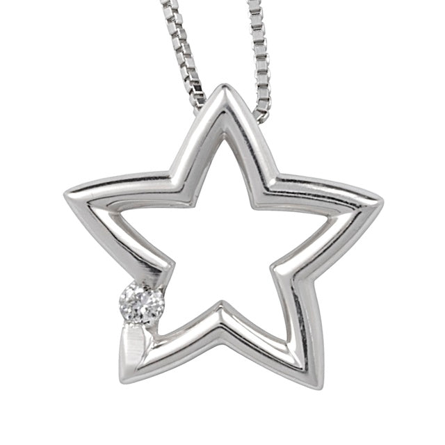 Star Pendant With 1 Diamond