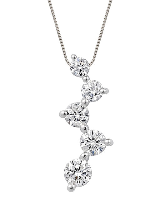 Shared Prong Diamond Zig Journey Pendant