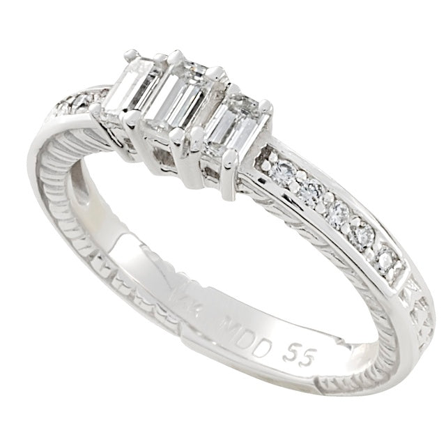Three Stone Emerald Cut Diamond Ring With Side Diamonds And Engraving With Lucida/Trellis Prongs