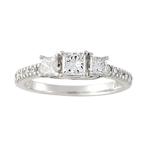 Three Stone Princess Cut Diamond With Side Diamonds with Lucida / Trellis Head