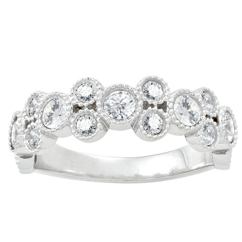 Bezel Set Diamond Stackable Ring with Milgrain