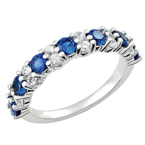 Prong Set Diamond and Sapphire Stackable Ring