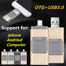 Load image into Gallery viewer, iPhone Flash Drive USB 3.0, iOS Flash Drive for iPhone X XR XS 6 6S 7 7S 8 8S iPad iOS Mac Windows, Android