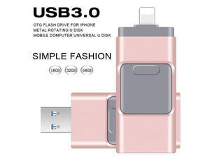 iPhone Flash Drive USB 3.0, iOS Flash Drive for iPhone X XR XS 6 6S 7 7S 8 8S iPad iOS Mac Windows, Android