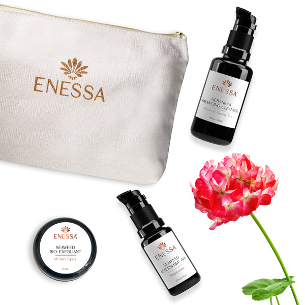 Men's Travel Survival Kit - Geranium - Enessa Organic Skin Care
