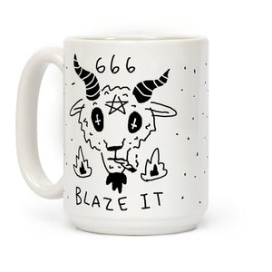 666 Blaze It Satan Ceramic Coffee Mug by LookHUMAN