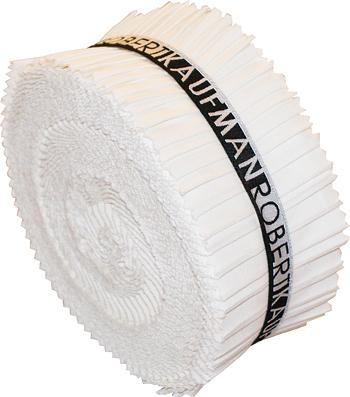 2-1/2in Strips Roll Up Kona Solids White Colorway 40pcs - RU-190-40