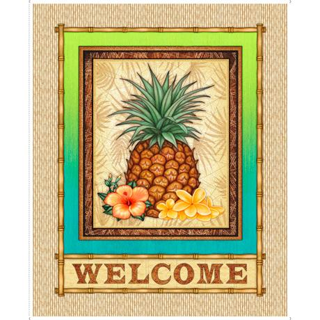 "Postcards Paradise-36 1/2"" Pineapple Welcome Panel 1649-27725-A"
