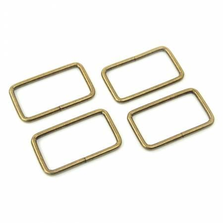 "4 Rectangle Rings 1.5""Antique Brass"
