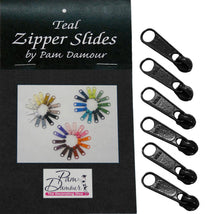 6 Large Tab Zipper Slides-Black ZIP-K